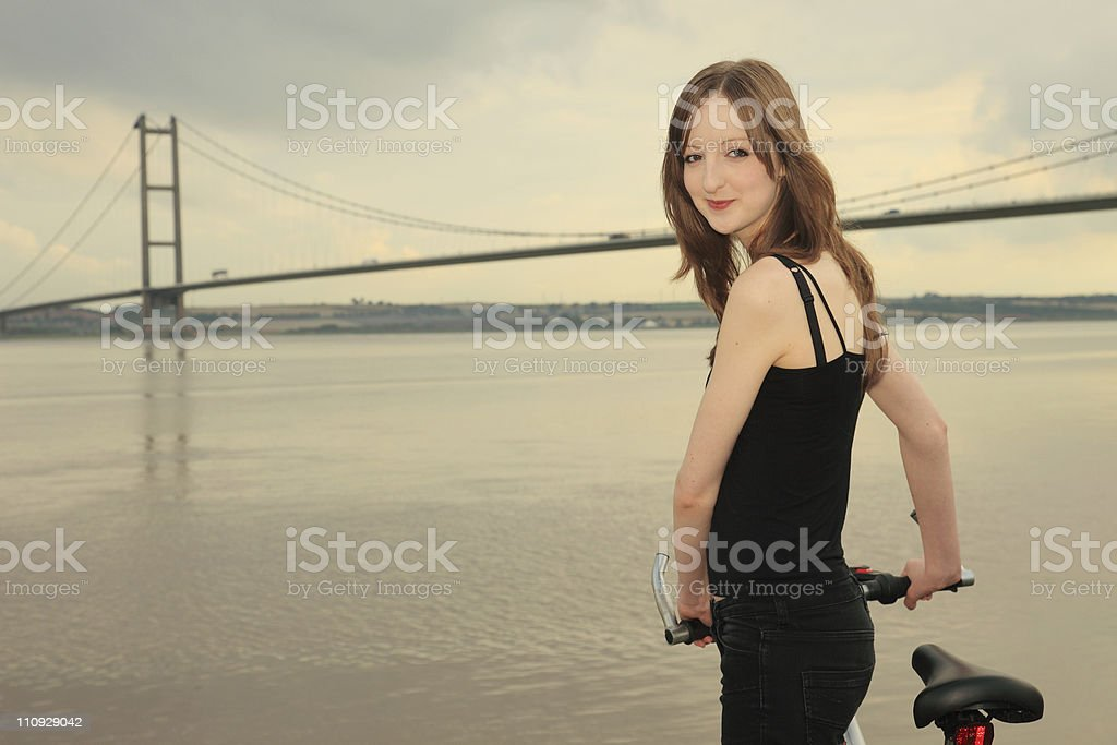 Cyclist at the Humber Bridge stock photo