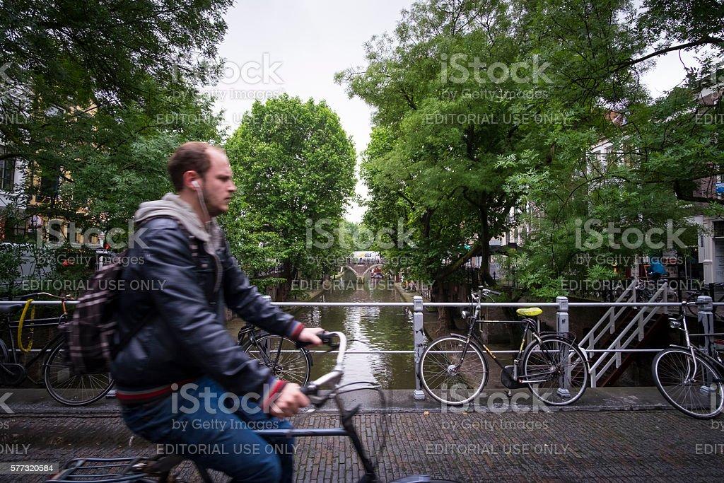 Cyclist at Utrecht stock photo