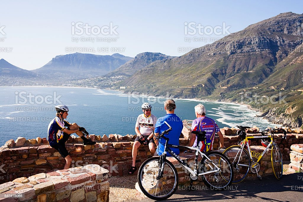 Cyclist, bike, riders, Chapmans Peak, Cape Town, scenic, steep,resting, stock photo