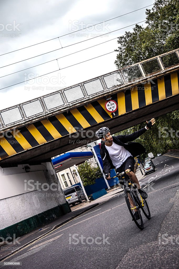 Cyclist commuter in Central London stock photo