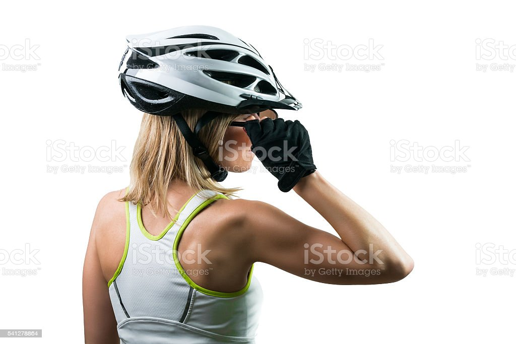 Cyclist concentrated for competition. stock photo