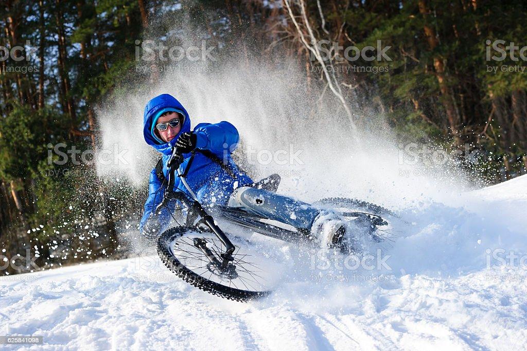 Cyclist extreme riding stock photo