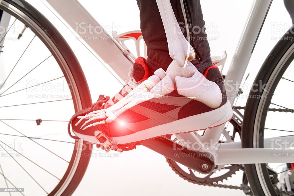 Cyclist foot stock photo