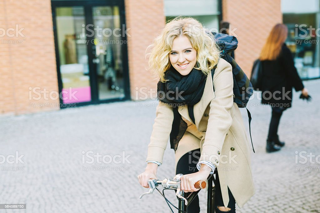 Cyclist Girl In The City stock photo