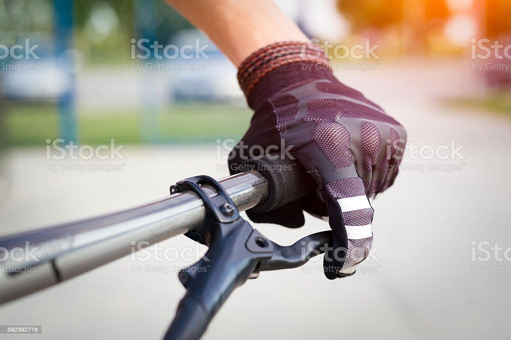 Cyclist hand stock photo