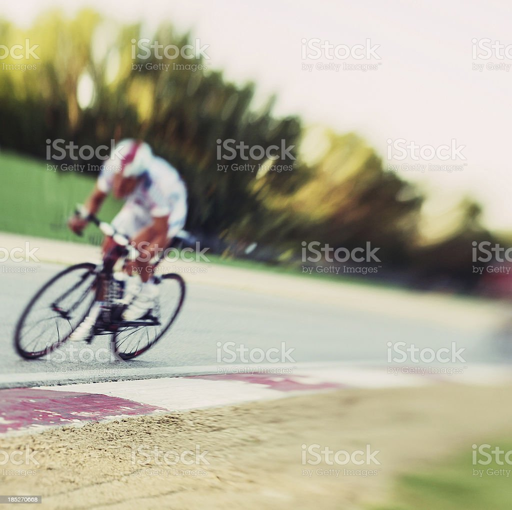 Cyclist in a circuit stock photo