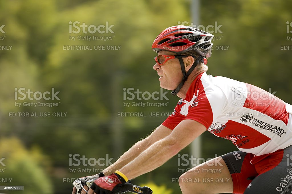 Cyclist in a Stage Road Race stock photo