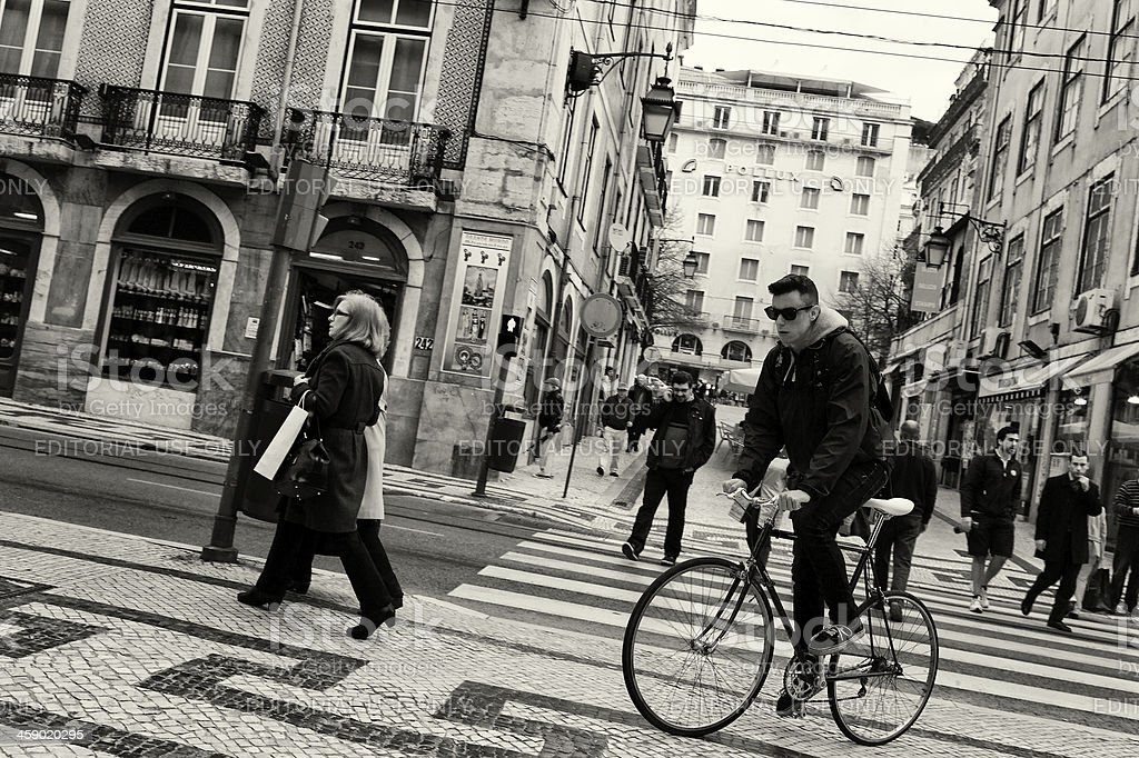 Cyclist in Lisbon royalty-free stock photo