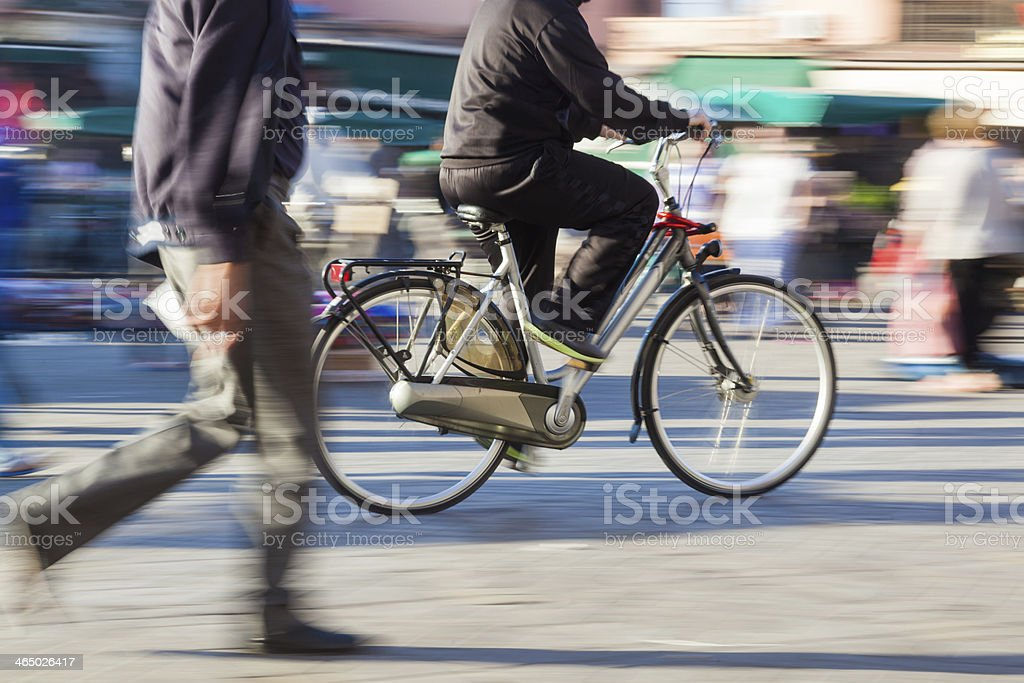 cyclist in motion stock photo