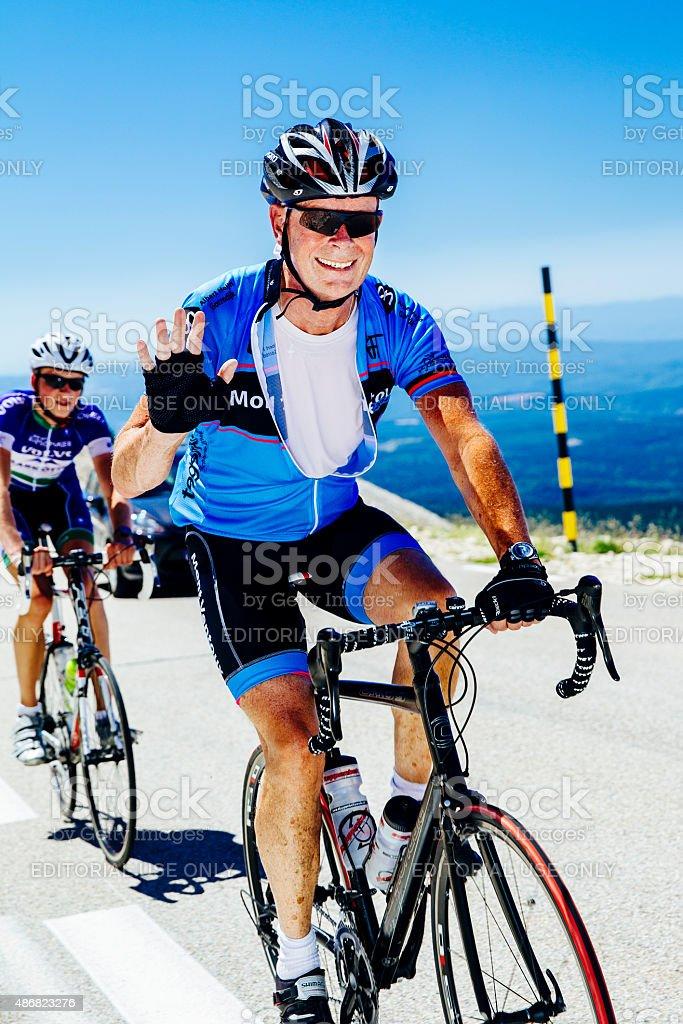 Cyclist, male, Mont Ventoux stock photo