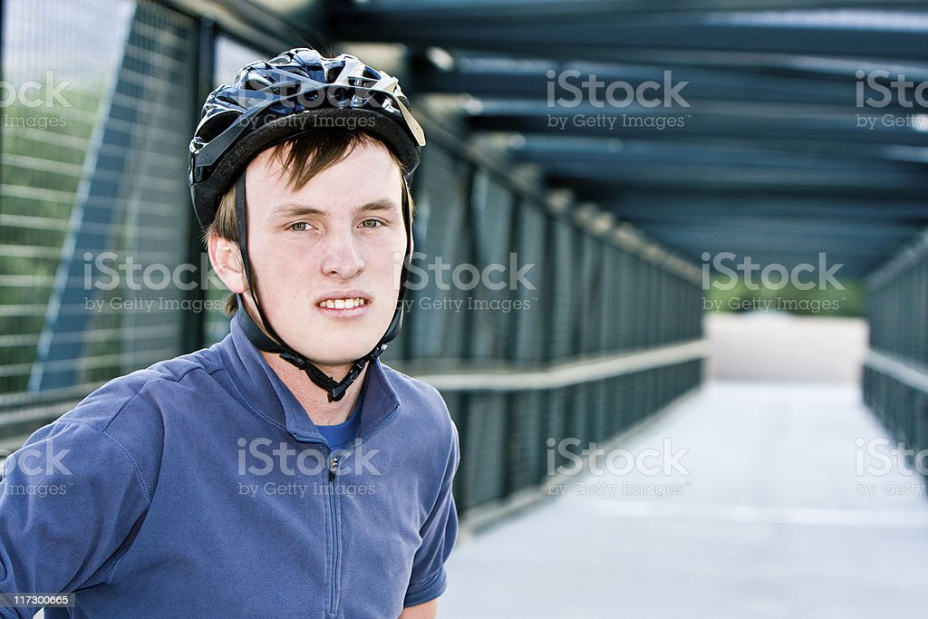 Cyclist on Bridge royalty-free stock photo