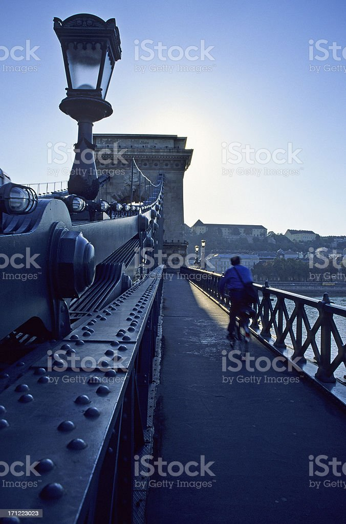 Cyclist on Bridge royalty-free stock photo
