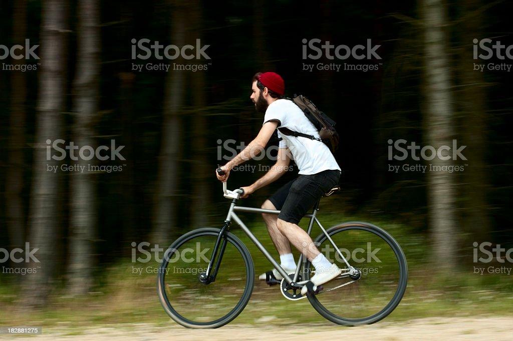 Cyclist on fixed wheel bike stock photo