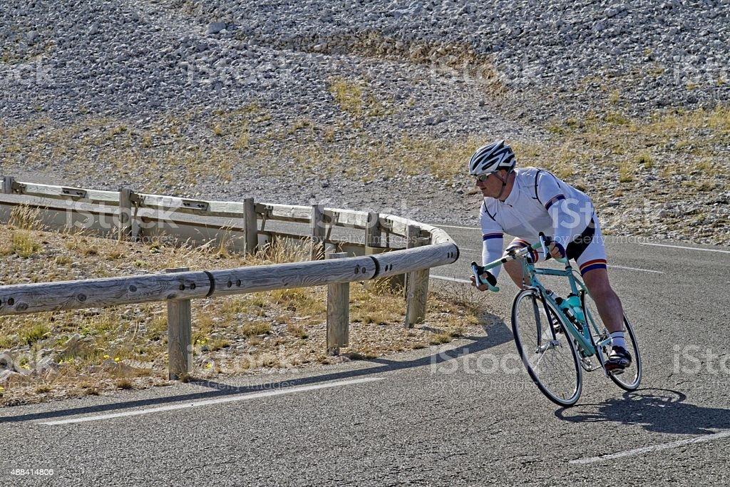 cyclist on Mont Ventoux France stock photo