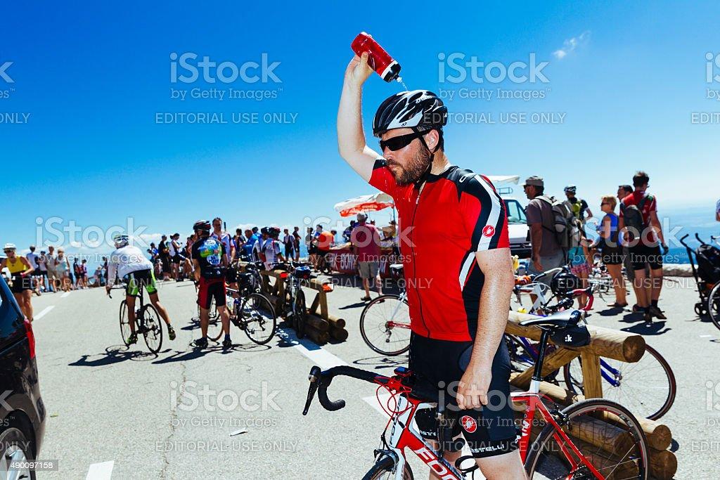Cyclist on Mont Ventoux, France stock photo