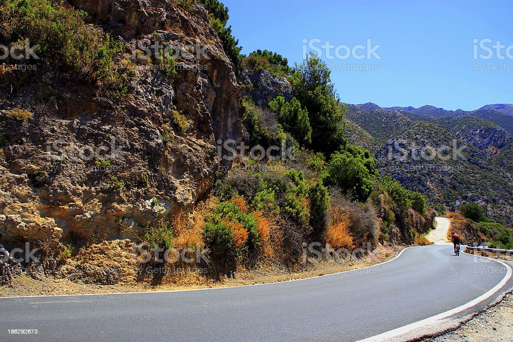 Cyclist on road royalty-free stock photo