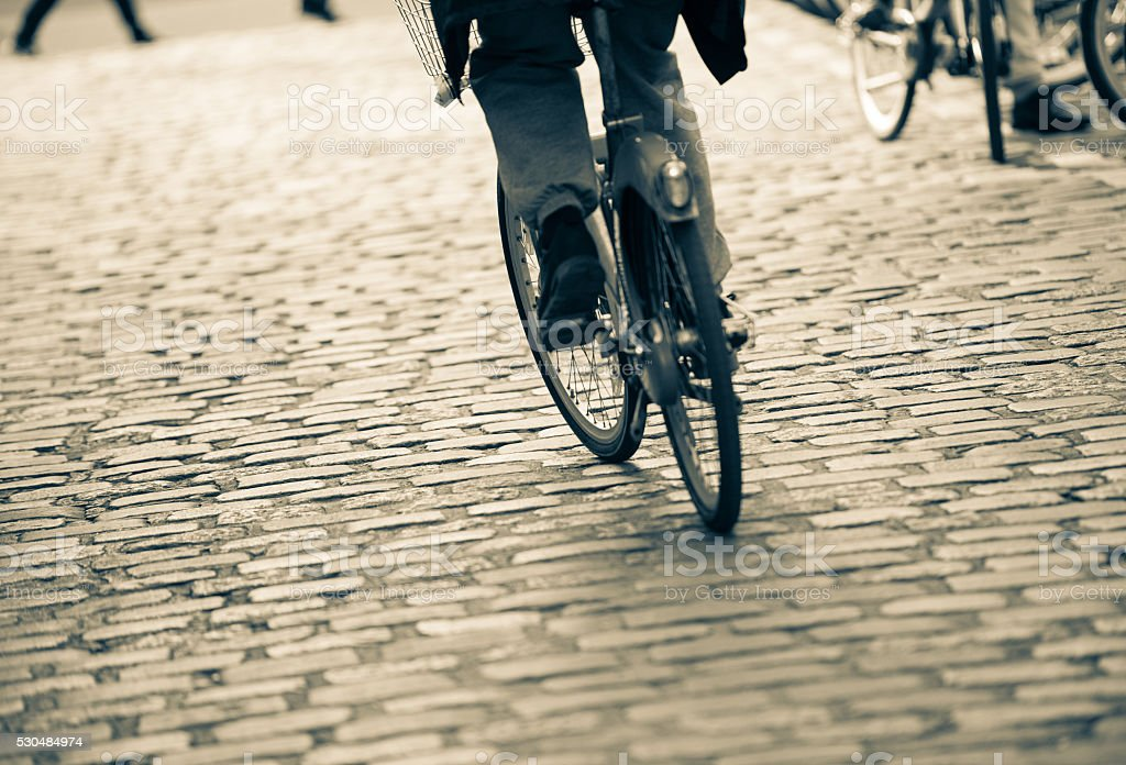 Cyclist on the Paris street stock photo