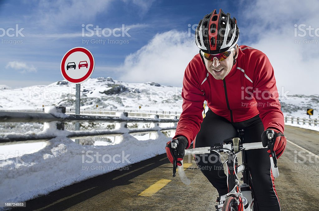 Cyclist on the road royalty-free stock photo