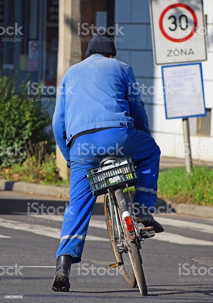 Cyclist on the street stock photo