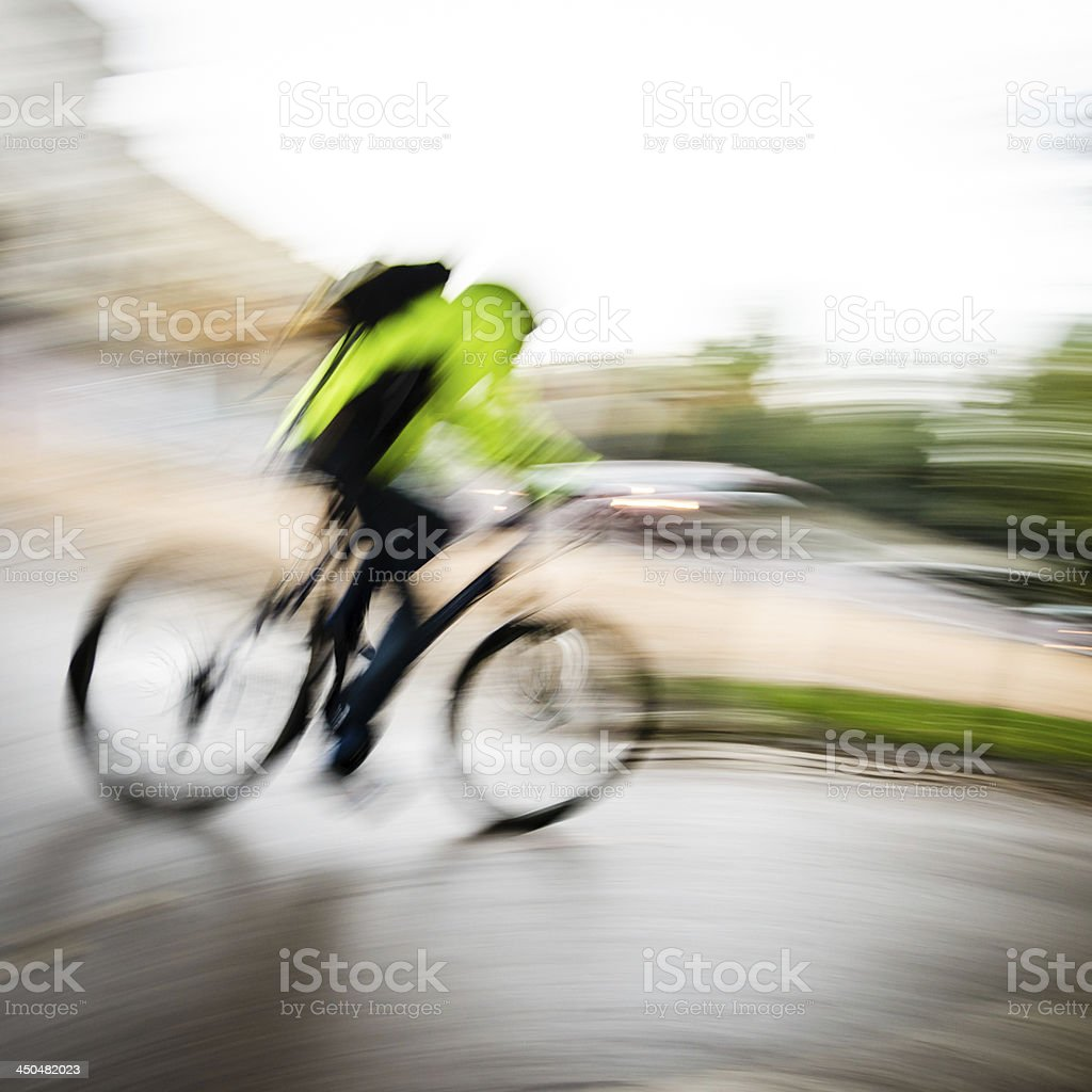 Cyclist pedaling fast royalty-free stock photo