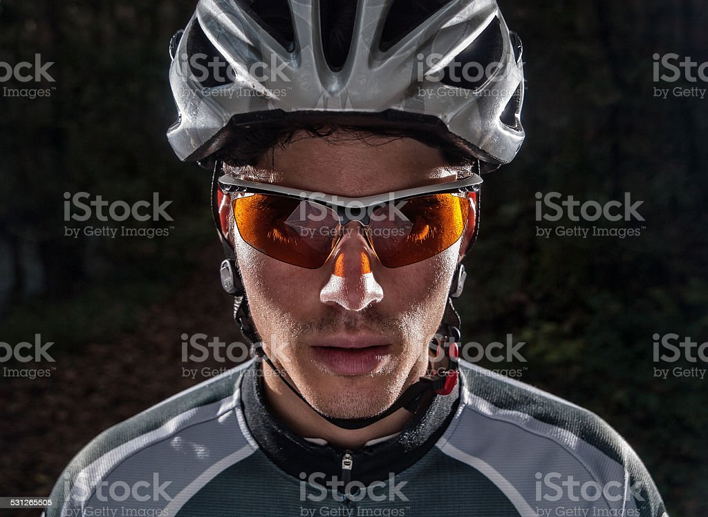 Cyclist portrait stock photo