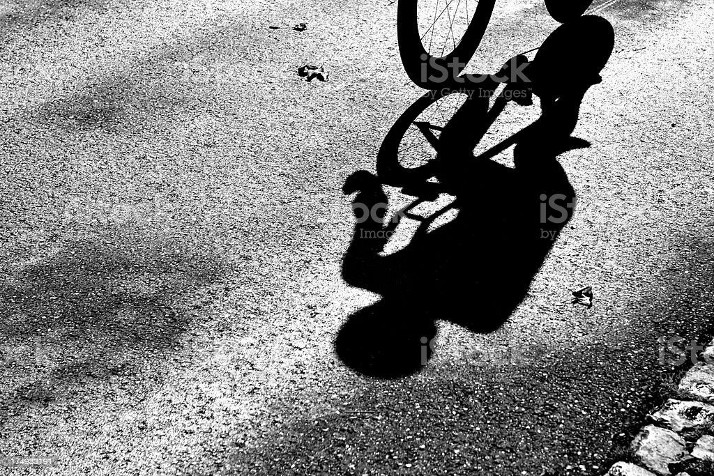 Cyclist Shadow stock photo