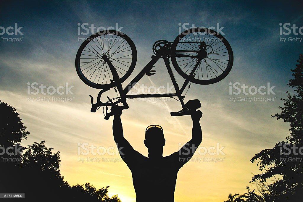 Cyclist silhouette stock photo