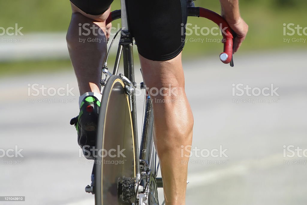 Cyclist - taking the wheel royalty-free stock photo