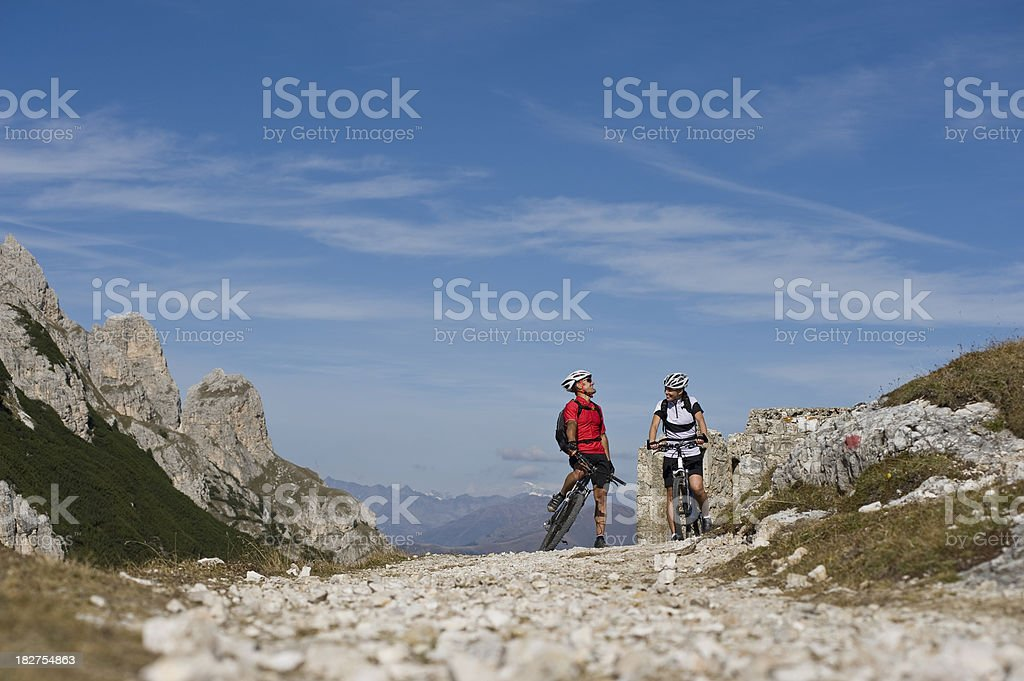 Cyclist, terrain with the mountain bike stock photo