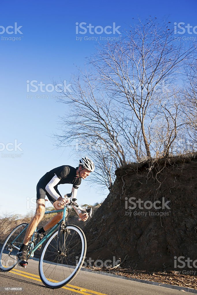 Cyclist training hard royalty-free stock photo