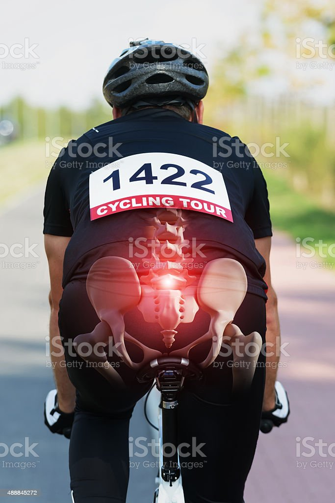 Cyclist with visible bones stock photo