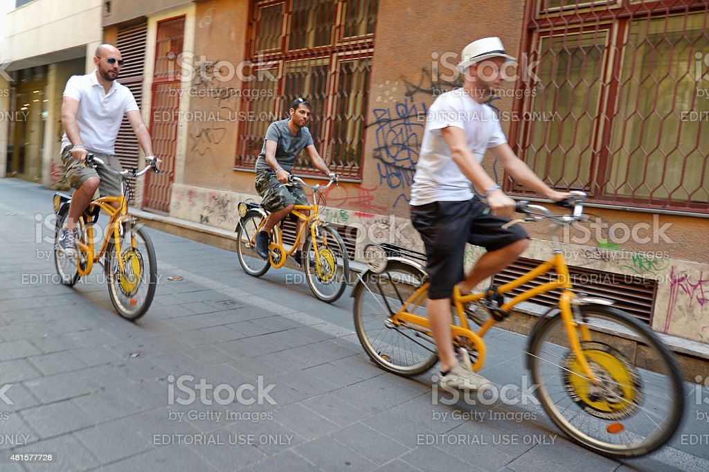 Cyclists At Budapest Streets, Hungary stock photo