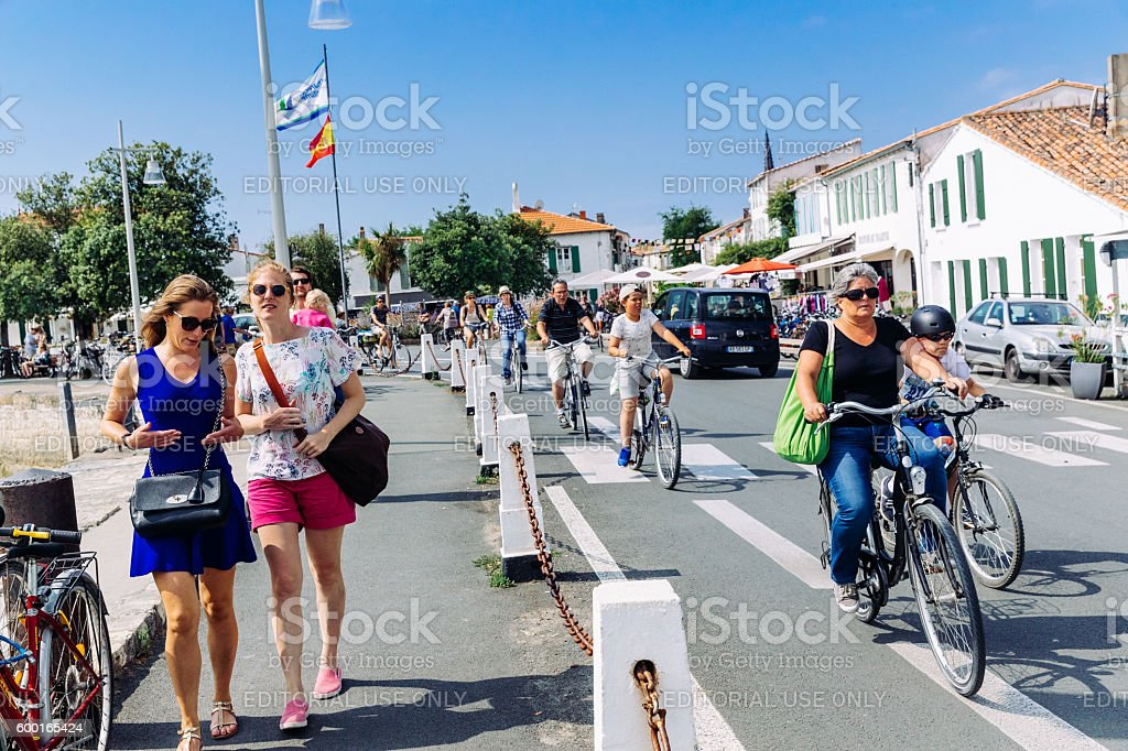 Cyclists at Ile de Re, France stock photo