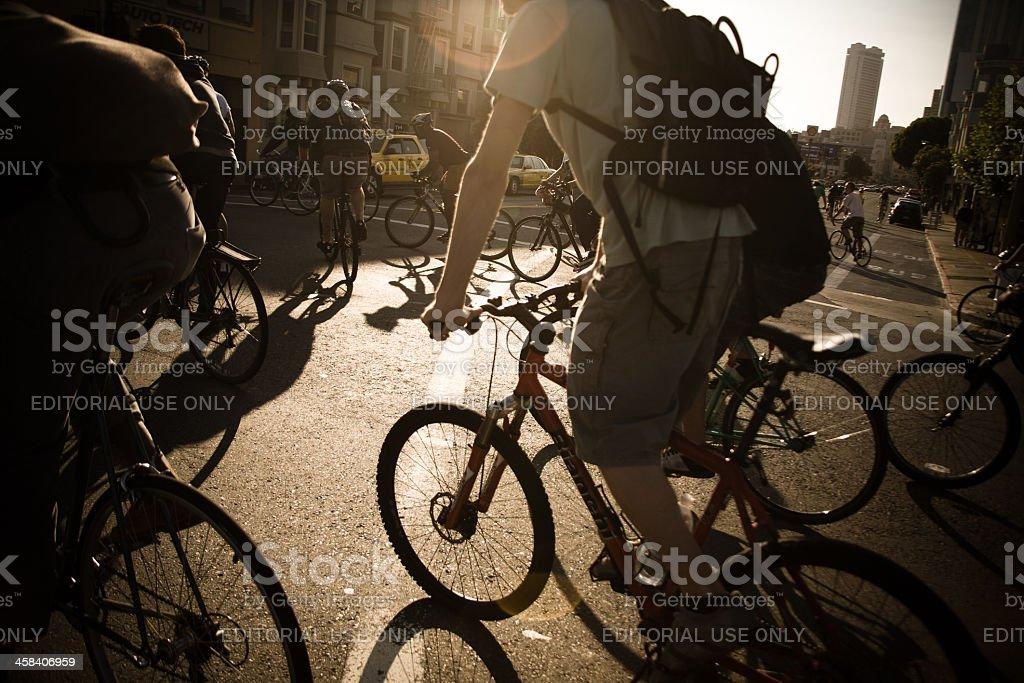 Cyclists at San Francisco Critical Mass royalty-free stock photo