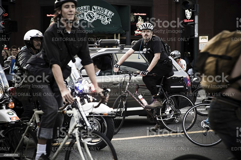 Cyclists at San Francisco Critical Mass stock photo