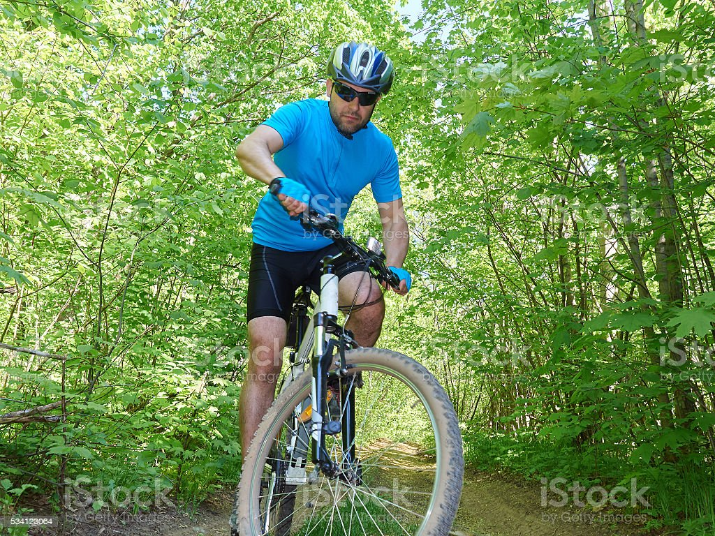 Cyclists down the hill into the woods. stock photo