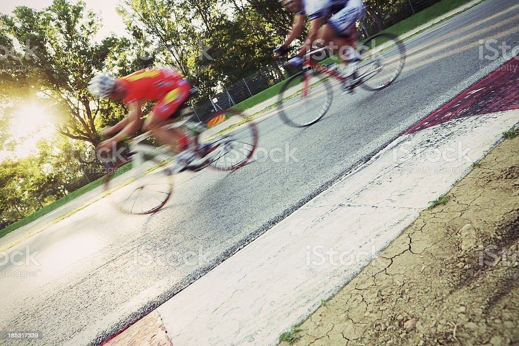 Cyclists in a circuit stock photo