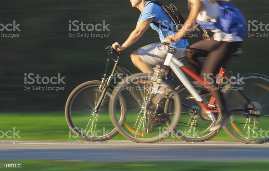 Cyclists in Blurred Motion stock photo
