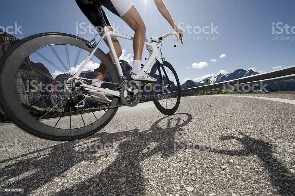 Cyclists in the backlight royalty-free stock photo