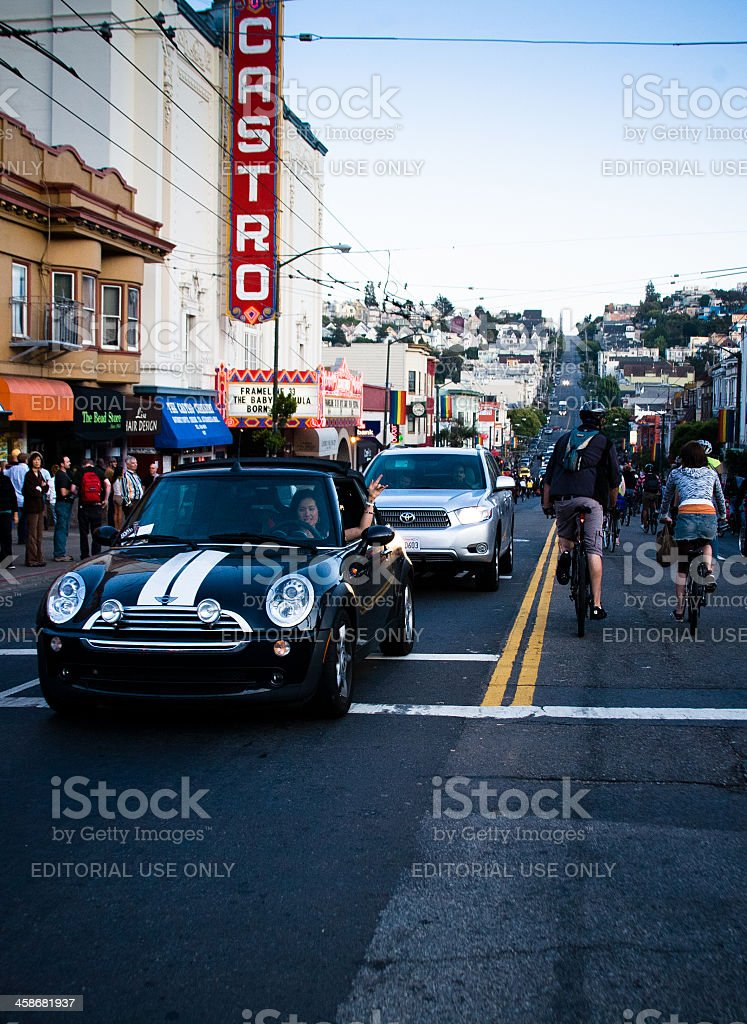 Cyclists in the Castro at San Francisco Critical Mass stock photo