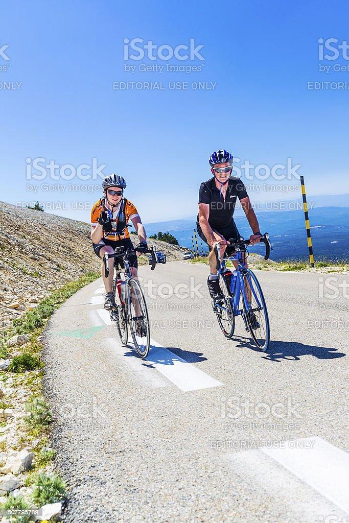 Cyclists, Mont Ventoux France stock photo