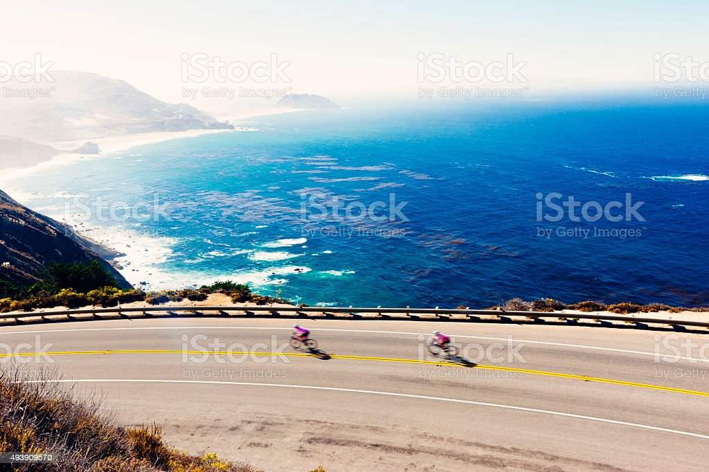 Cyclists on Highway 1, Big Sur, California stock photo