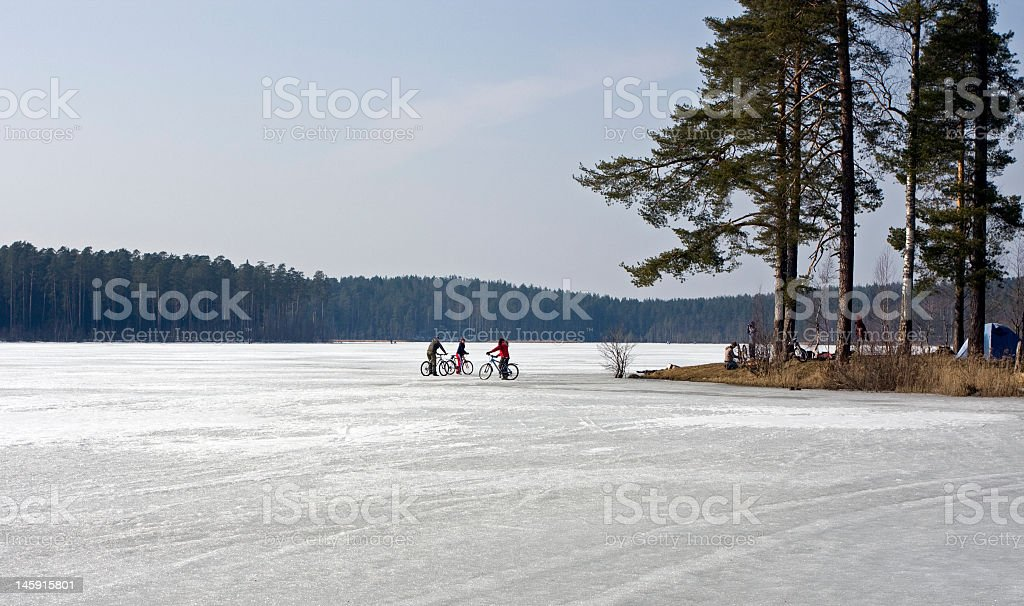 cyclists on ice royalty-free stock photo