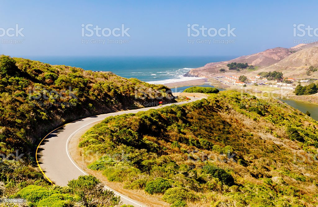 Cyclists on road to Rodeo Beach, San Francisco, USA stock photo