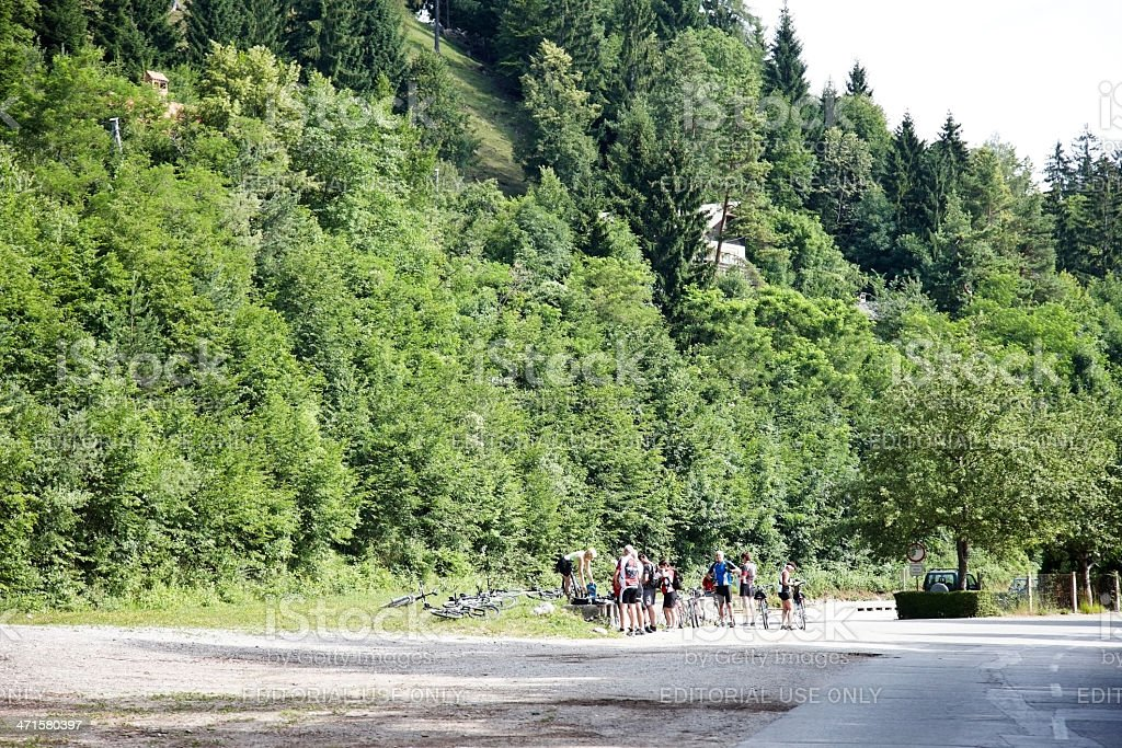 Cyclists on Slovenia road in Bled royalty-free stock photo