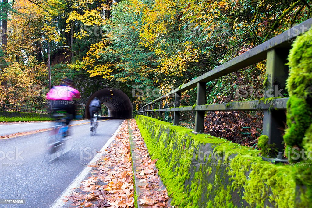 Cyclists on the autumn road with bridge and tunnel stock photo
