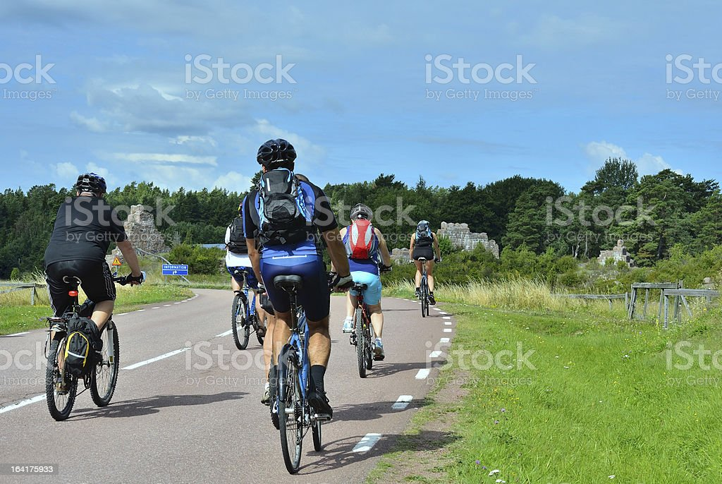cyclists on the road royalty-free stock photo