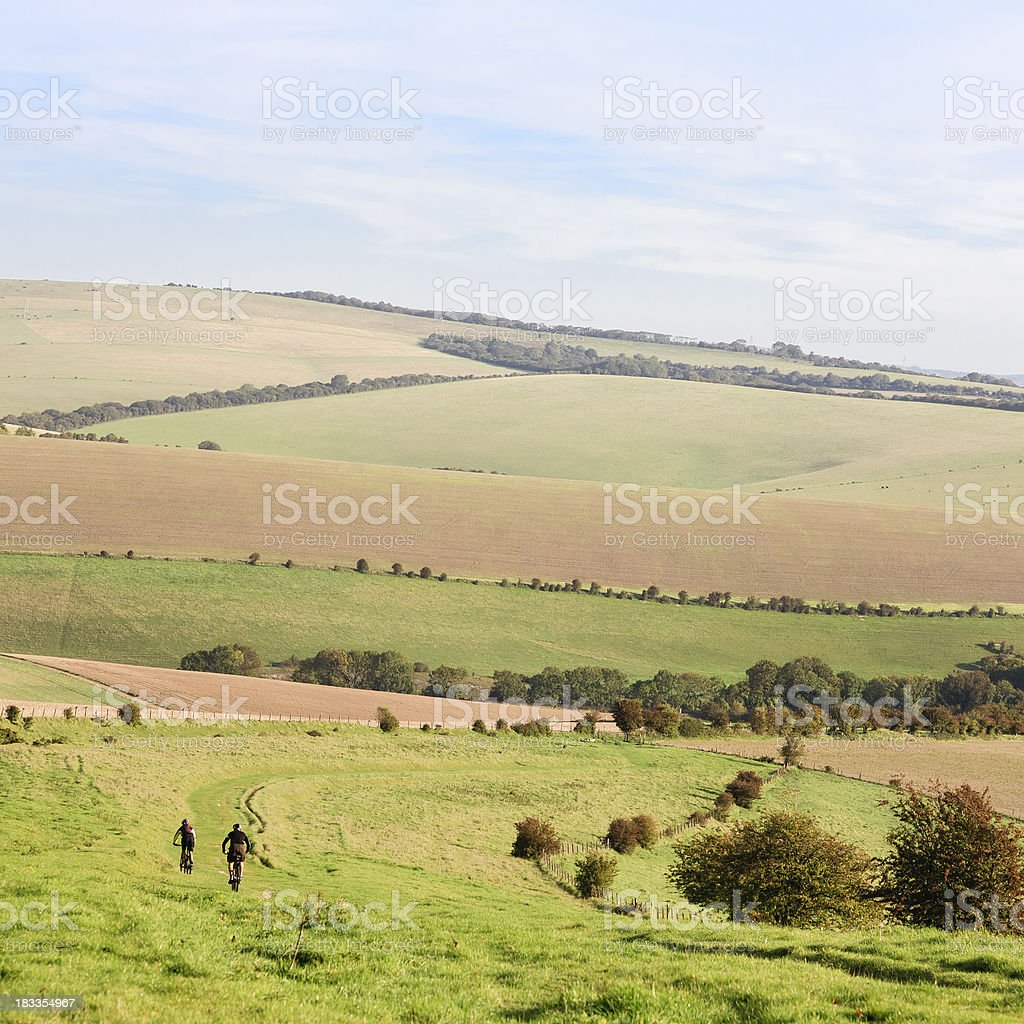 Cyclists on the South Downs Way stock photo