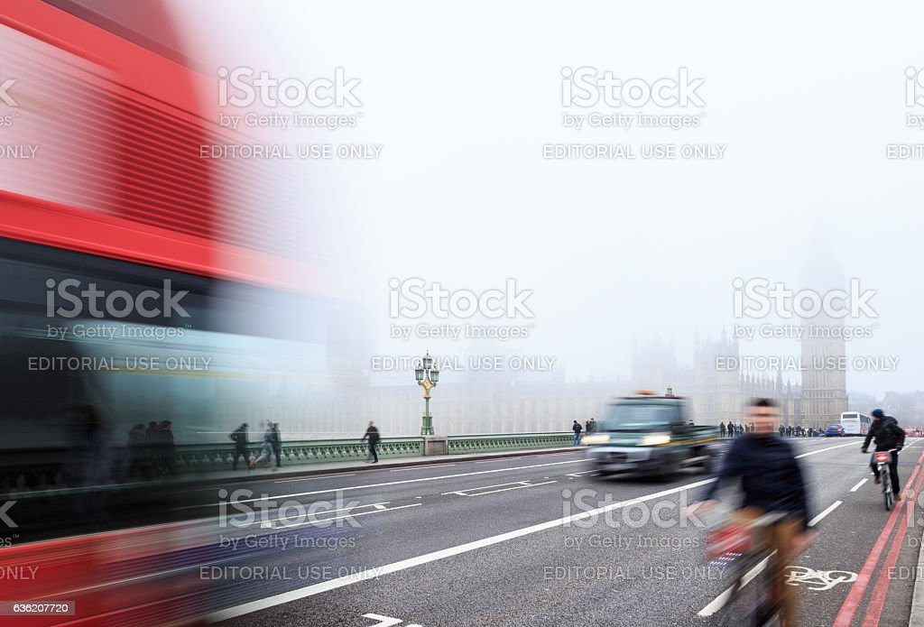 Cyclists on Westminster Bridge, London. stock photo