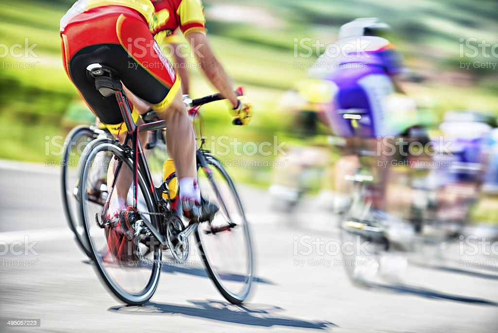 Cyclists Race stock photo